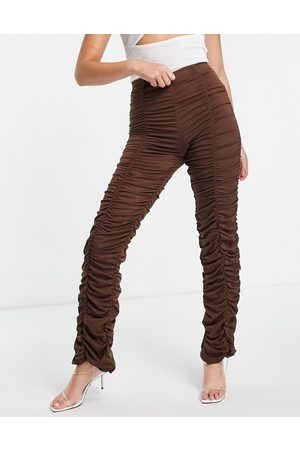 Night Addict Mujer Leggings y treggings - Ruched high waisted trousers in chocolate