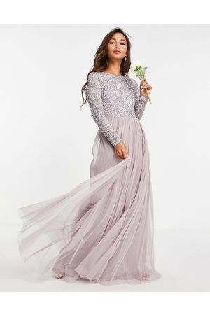 Maya Bridesmaid long sleeve maxi tulle dress with tonal delicate sequins in lilac grey