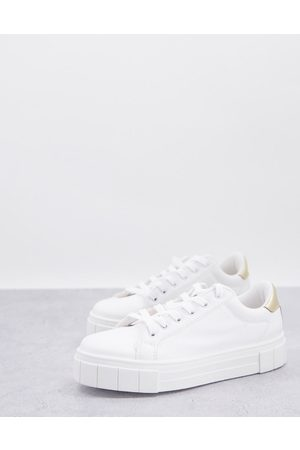Miss Selfridge Mujer Tenis - Tilly lace up trainer with gold tab in white