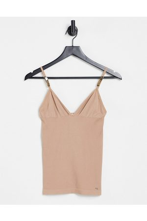 Morgan Mujer Tops - Cami strap plunge front vest in tan