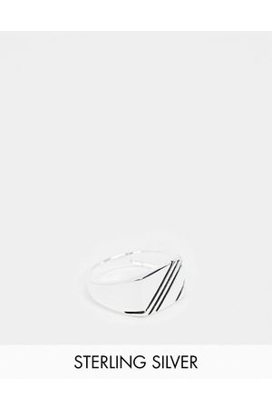 ASOS DESIGN Hombre Anillos - Sterling silver signet ring with contrast design in silver
