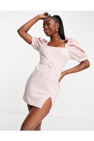 Saint Genies Mujer Cortos - Jacquard puff sleeve mini dress in pink