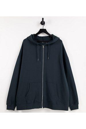 ASOS ASOS DESIGN Curve organic cotton super oversized zip through hoodie in charcoal