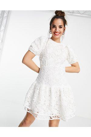 Miss Selfridge Lace puff sleeve mini dress in white