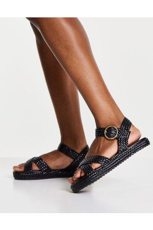 Schuh Mujer Sandalias - Verity woven flatform sandals in black