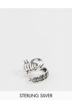 ASOS Sterling silver ring with wraparound scorpion in burnished silver