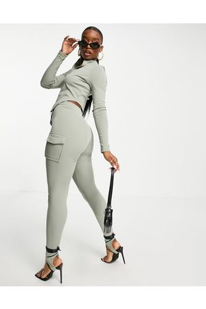 Simmi Clothing Simmi exclusive drawstring straight leg cargo jogger with stirrup detail in sage