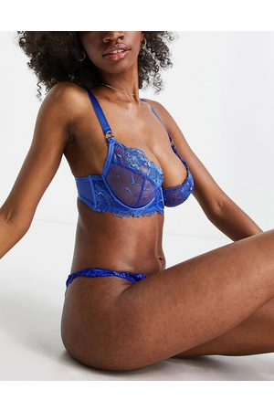 ASOS DESIGN Fuller Bust Georgia bright embroidery underwire bra with exposed wire in cobalt