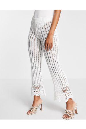 Miss Selfridge White Crochet Trouser Co