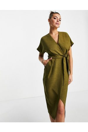 Closet Kimono wrap dress in olive green