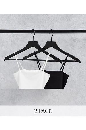 Monki Alissa recycled 2 pack cami crop top in black and white