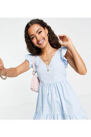 Miss Selfridge Poplin frill sleeve mini dress in baby blue