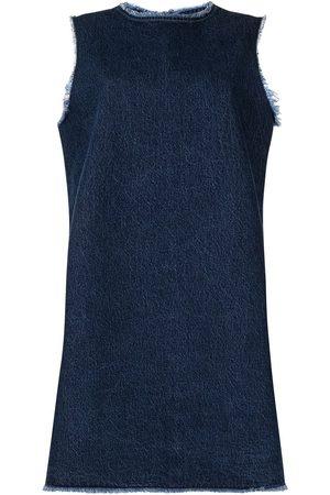 RAF SIMONS Mujer De mezclilla - Vestido de mezclilla con bordes deshilachados