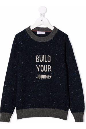 Brunello Cucinelli Slogan-knit wool-cashmere jumper