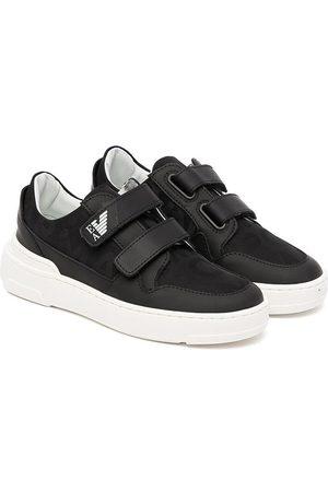 Emporio Armani Kids Leather-trim touch-strap sneakers