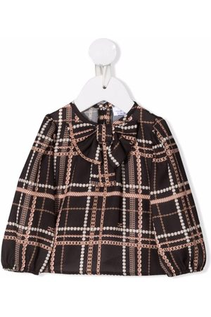 Elisabetta Franchi La Mia Bambina Blusas - Checked pussy-bow blouse
