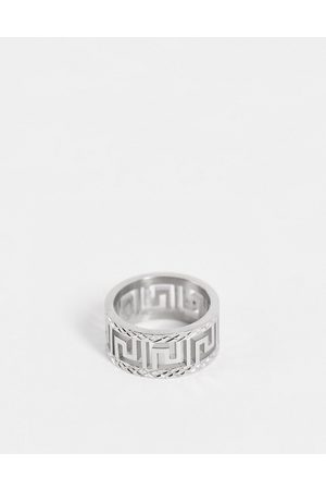 ASOS DESIGN Stainless steel band ring with greek wave cut out design in silver tone
