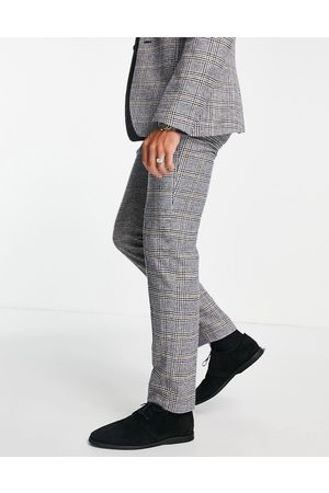 ASOS Slim wool mix suit trousers in prince of wales check
