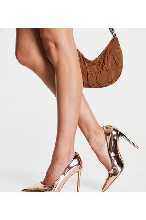 ASOS DESIGN Mujer Tacones - Wide Fit Penza pointed high heeled court shoes in rose gold
