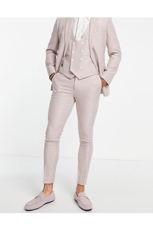 ASOS DESIGN Hombre Slim y skinny - Super skinny suit trousers in pink dogstooth