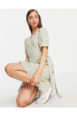 Vila Wrap mini dress in textured check