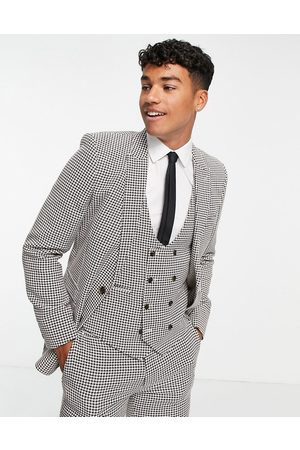 ASOS Super skinny suit jacket in brown dogtooth