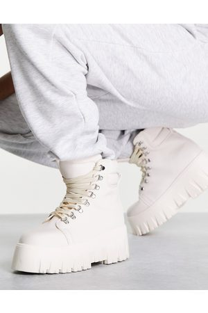 ASOS Mujer Botas y Botines - Anastasia chunky hiker lace up boots in white