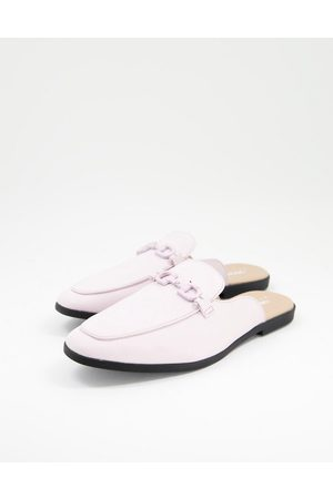 ASOS DESIGN Backless mule loafer in lilac faux leather with snaffle