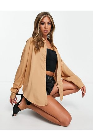 Missyempire Exclusive not so basic oversized shirt in camel
