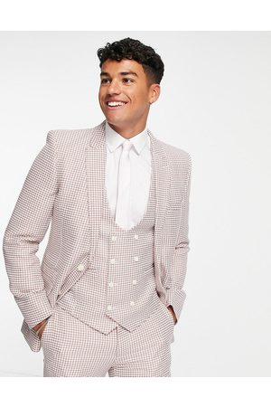 ASOS DESIGN Super skinny suit jacket in pink dogtooth