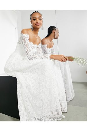 ASOS Hazel lace long sleeve off shoulder wedding dress