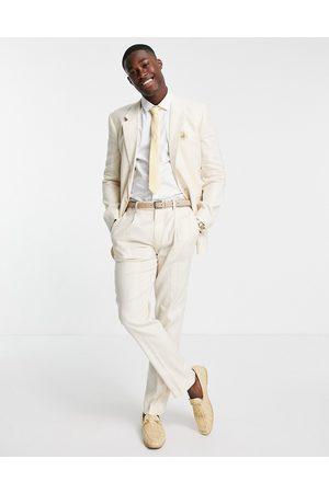 ASOS DESIGN Wedding linen slim suit jacket with wide stripe in stone