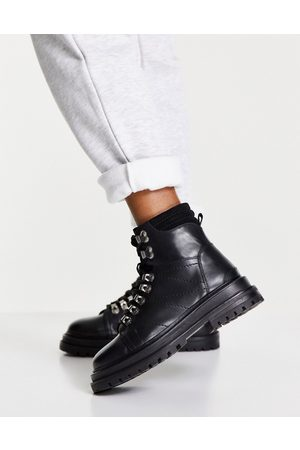 ASOS DESIGN Mujer Botas y Botines - Adrift chunky lace up hiker boots in black
