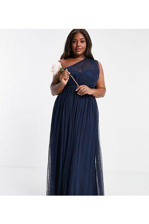 ANAYA Anaya With Love Plus Bridesmaid tulle one shoulder maxi dress in navy