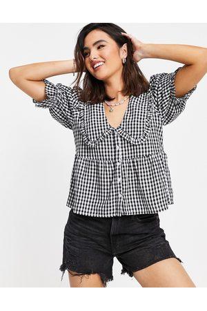 Miss Selfridge Collar shirt in mono gingham