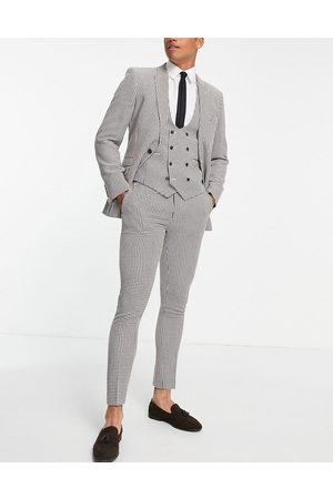 ASOS Super skinny suit trousers in brown dogstooth
