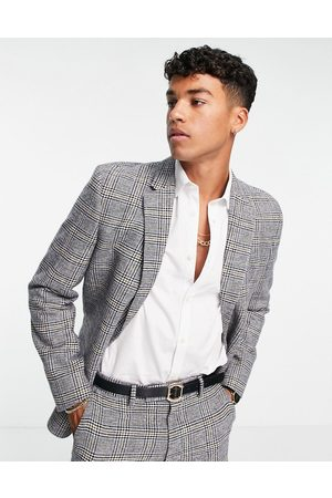 ASOS Slim wool mix suit jacket in prince of wales check