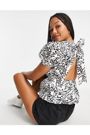 Miss Selfridge Tie back poplin blouse in abstract animal print