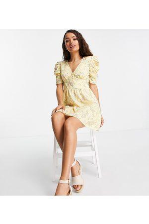 Miss Selfridge Puff sleeve mini dress in yellow ditsy