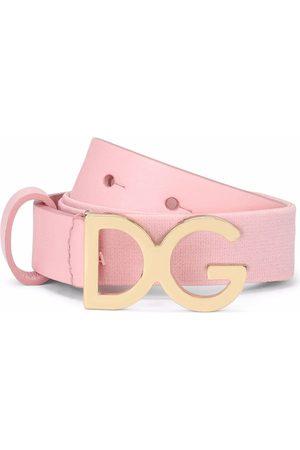 Dolce & Gabbana Niño Tirantes - Logo-buckle leather-trim belt