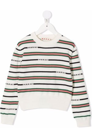 Marni Striped intarsia-logo knitted jumper