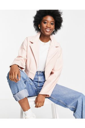 ASOS DESIGN Glam cropped faux leather jacket in pink