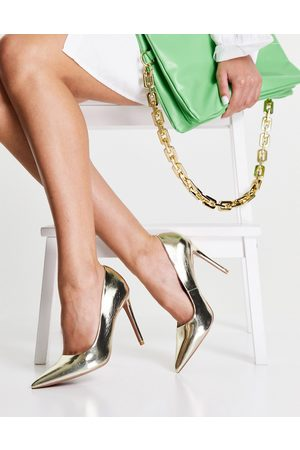 ASOS Penza pointed high heeled court shoes in gold