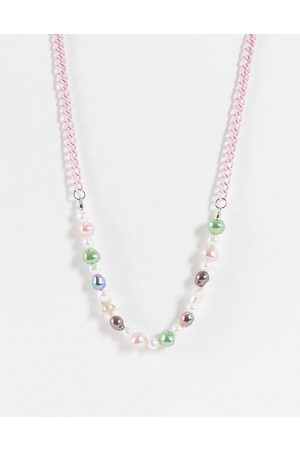 ASOS Beaded neckchain with faux pearl and colourful beads in pink tone