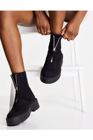 ASOS DESIGN Ava leather front zip boots in black suede
