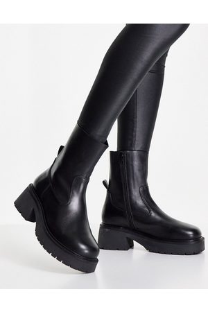 ASOS Ascend premium leather sock boots in black