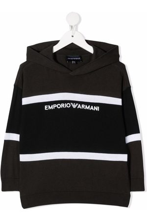 Emporio Armani Kids Logo-print knitted hoodie