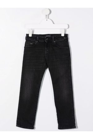 Emporio Armani Niño Jeans - Logo-plaque straight-leg jeans