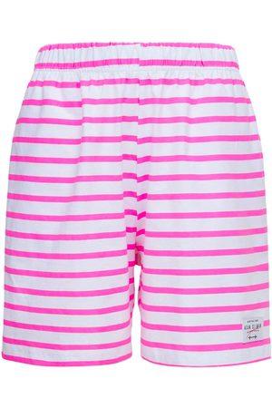 Adam Selman Sport Mujer Shorts - Striped Cotton Gym Shorts