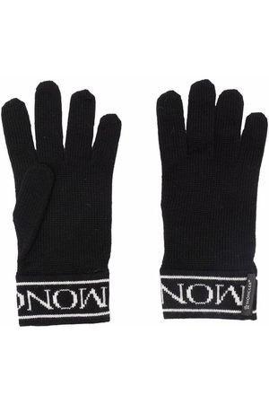 Moncler Niño Guantes - Logo-embroidered wool gloves